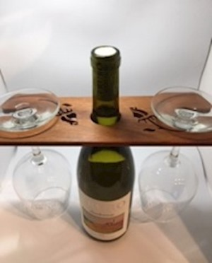 Wooden Scrolled Wine Glass Cady LARGE