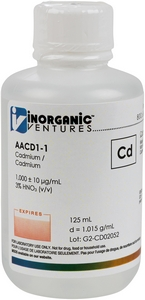 1,000 ppm Cd in HNO3 Acid, 125mL [30-AACD1-1]