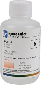1,000 ppm Zr in HNO3 Acid tr. HF, 125mL [30-AAZR1-1]