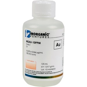 10 µg/mL Gold in dilute Hydrochloric Acid, 125mL [30-MSAU-10PPM]