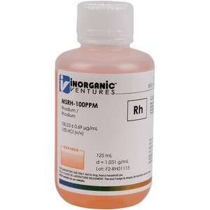 100 µg/mL Rhodium in dilute Hydrochloric Acid, 125mL [30-MSRH-100PPM]