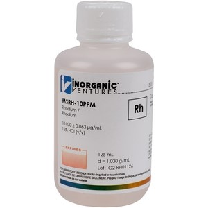 10 µg/mL Rhodium in dilute Hydrochloric Acid, 125mL [30-MSRH-10PPM]
