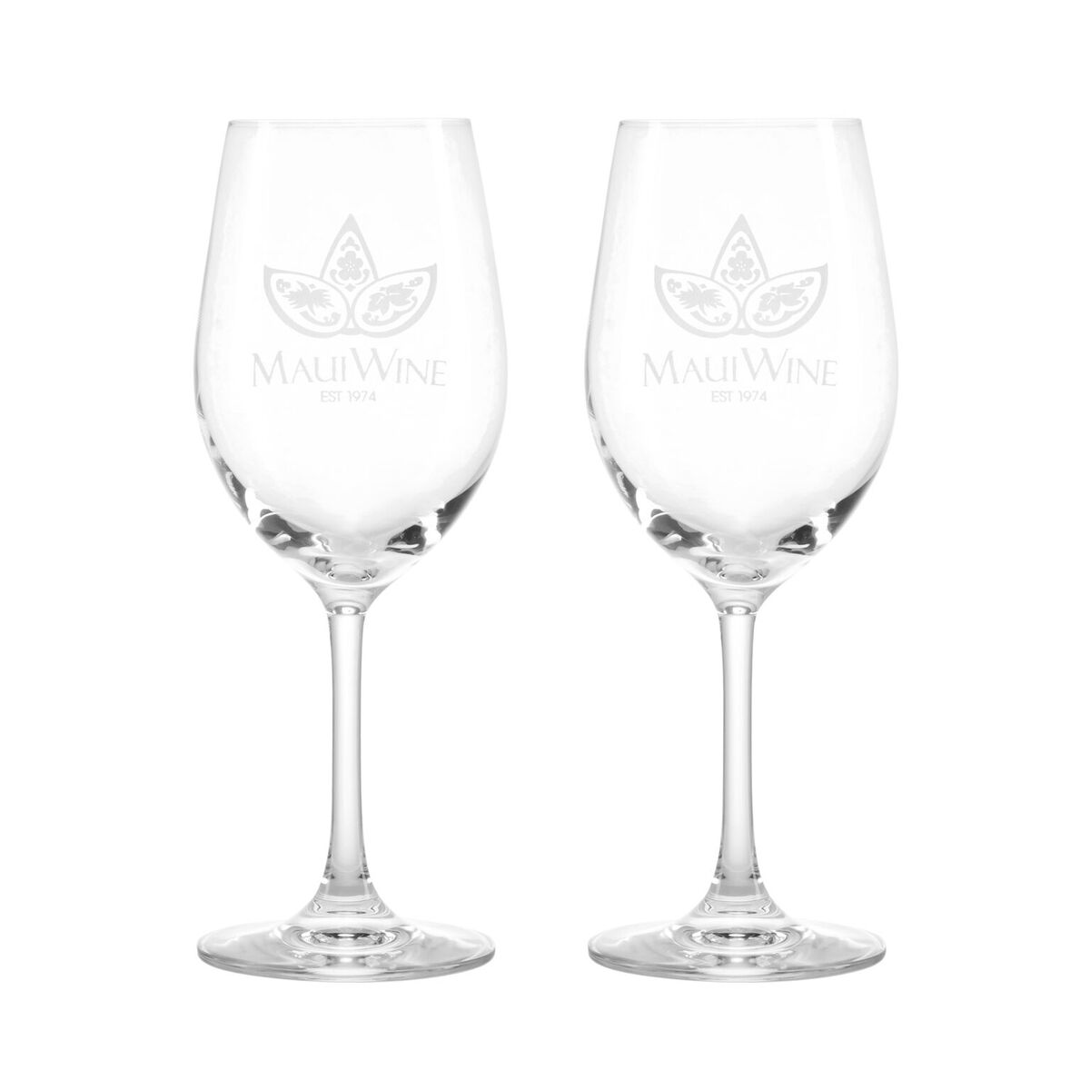 Set of 2- Logo White Wine Glasses THUMBNAIL