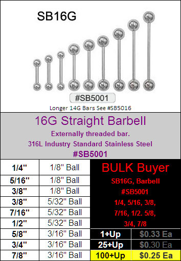 SB5001, 16G Straight Barbells, 1/4 to 7/8 MAIN