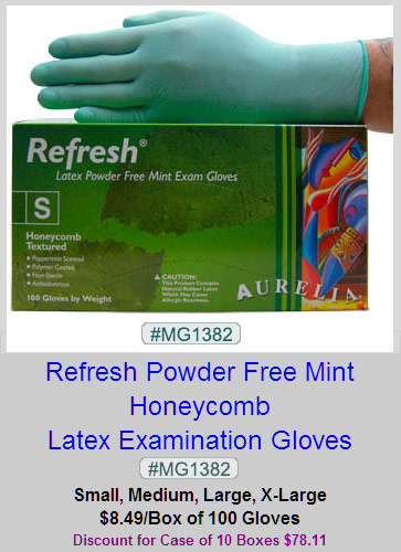 MG1382, Refresh Mint Honeycomb Latex Gloves