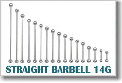 14 Gauge Body Piercing Barbells