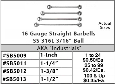 SB5016, 16G Straight Long Barbells MAIN