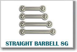 8 Gauge Body Piercing Barbells