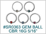 "SR0363 16 Gauge 5/16"" CBR with Gem Ball"