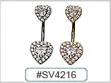 SV4216 Double Cluster Heart Gem Navel THUMBNAIL