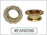 EAR0390 Gold Plated Ear Filigree Tunnel_THUMBNAIL
