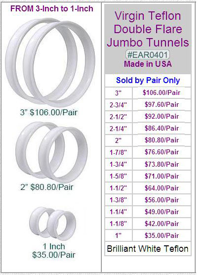 EAR0401, Virgin Teflon Jumbo Tunnels MAIN