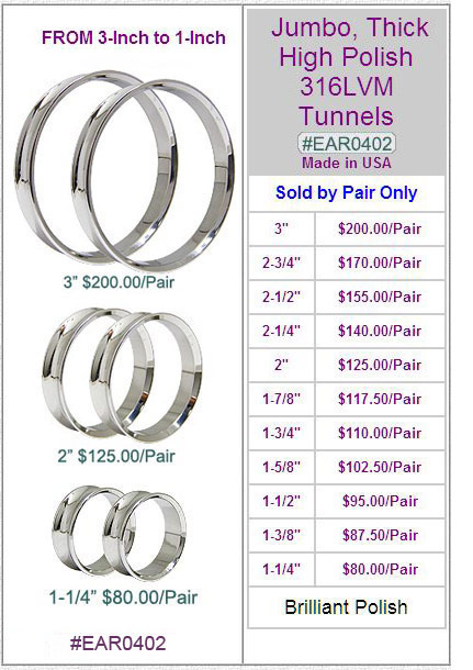EAR0402, 316LVM Thick Polished Jumbo Tunnels MAIN