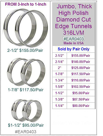 EAR0403, 316LVM Diamond Cut Jumbo Tunnels MAIN