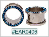 EAR0406, Blue Bead Threaded Tunnels_THUMBNAIL
