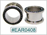 EAR0408, Black Bead Threaded Ear Tunnels