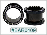 EAR0409, Black Titanium Colored 316L Threaded Ear Tunnels