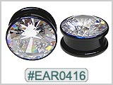 EAR0416, Clear Gem Black Ear Tunnels