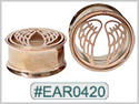 EAR0420,  Wing Threaded Tunnel Rose Gold Plated