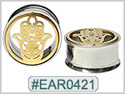 EAR0421, Hamsa Hand Threaded Tunnel Gold Plated THUMBNAIL