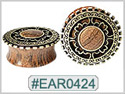 EAR0424, Wooded Plug with Bronze Design THUMBNAIL