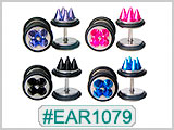EAR1079 Iridescent Spike 16G Post Ear Gauge