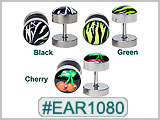 EAR1080 Zebra, Cherries 16G Post Ear Gauge_THUMBNAIL