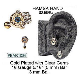 EAR1086, 16G Gold Plated Hamsa Hand for Cartilage