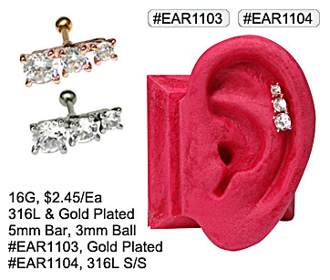#EAR1103, #EAR1104, 16G 3 Gem Ear Cartilage MAIN
