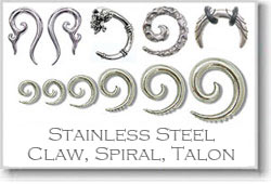 Ear- Stainless Steel Claw, Spiral, Talons