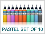 10 Pastel Color Tattoo Ink Set THUMBNAIL