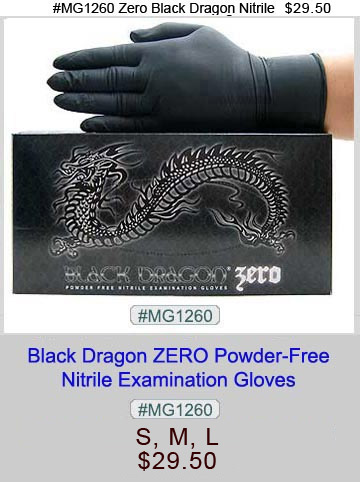 MG1260, Black Zero Nitrile Gloves LARGE