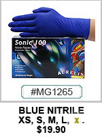 "MG1265 ""SONIC 100"" Blue Nitrile Gloves THUMBNAIL"