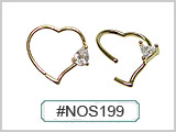 NOS199, Heart Shape Bendable 20G Wire CZ Gem THUMBNAIL