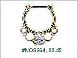 #NOS264, Gold Plated, clear tear gem