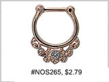 #NOS265, Nostril Clicker, Rose Gold Plated  Gems