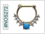#NOS272 Septum Nose Jewelry: Gold Plated with Turquoise THUMBNAIL