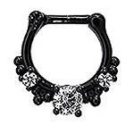 #NOS273 Septum Nose Jewelry: Black with Gems