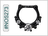 #NOS273 Septum Nose Jewelry: Black with Gems THUMBNAIL