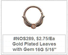 #NOS289 Gold Plated Leaves Gem MAIN