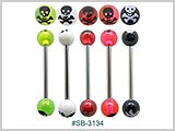 SB3134, Skull & Cross Bones UV Barbell THUMBNAIL