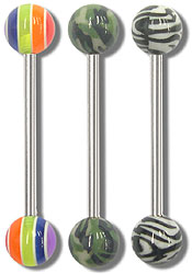 SB4329 Rainbow, Camouflage, Zebra Ball Barbells MAIN