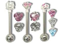 SB5335 Gem Silver Prong Barbell THUMBNAIL