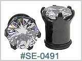 SE0491, Black Prong Set Gem Ear Gauge