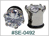 SE0492, S/S Prong Set Gem Ear Gauge
