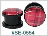 SE0554, Red Plaid Plastic Threaded Tunnels THUMBNAIL
