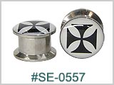 SE0557 Iron Cross 316L Threaded Tunnels