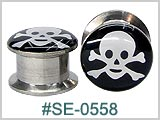 SE0558 Skull & Cross Bones 316L Threaded Tunnels