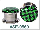 SE0560 Green Checkerboard 316L Threaded Tunnels