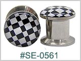 SE0561 Checkerboard 316L Threaded Tunnels